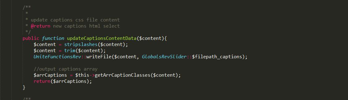 Wordpress Plugin - Revslider update captions CSS file critical