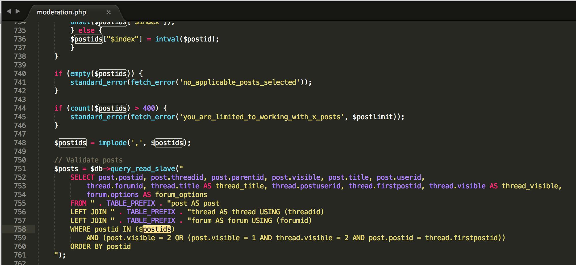 vBulletin SQL Injection