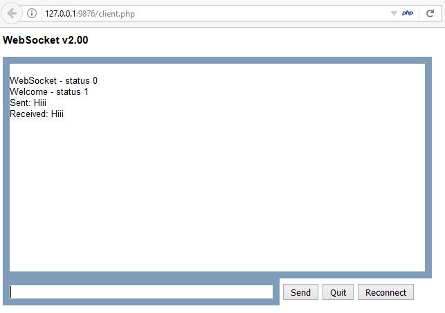 WebSocket user interface
